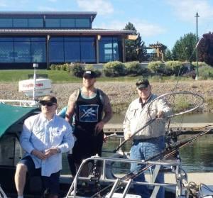 George, Matt, and Captain Pat on Pat's boat